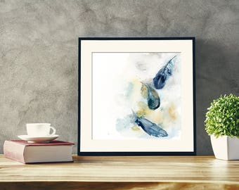 Feathers Original Watercolor Painting, feathers painting, teal feathers, watercolour modern abstract realism painting art