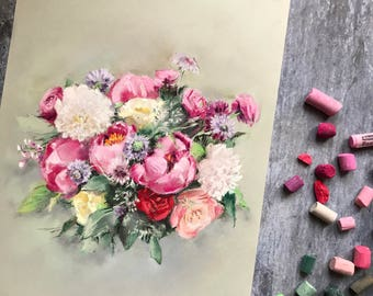Wedding Bouquet Commission Painting, Soft Pastels Painting, MADE TO ORDER, Custom Painting, Anniversary Gift