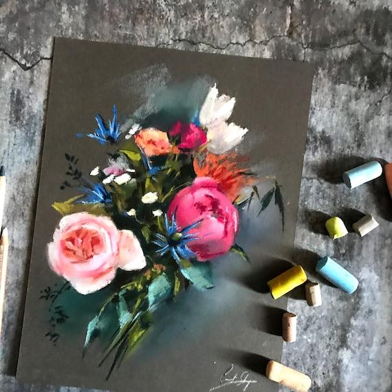 Fleurs Bouquet Original Soft Pastels Peinture Peinture De Fleurs Peinture De Couleurs Vives Peinture Florale