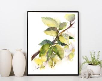 Leaves ORIGINAL Watercolor Painting, Green Leaves Eco Style painting, Green leaves branch painting