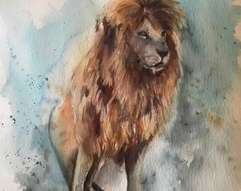 Lion Original watercolor painting, wild animal painting, lion art, painting of lion