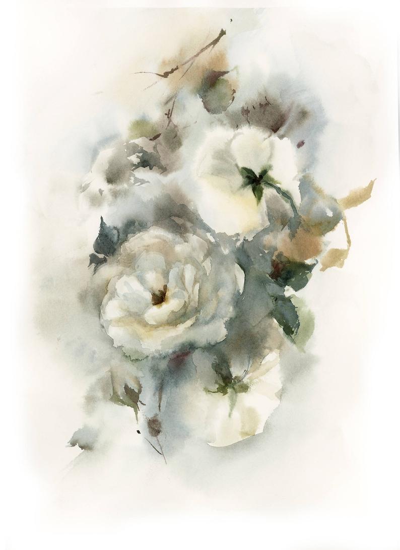 Flowers Painting Painting of Roses Rose Art White Roses Original Watercolor Painting Floral Botanical Watercolour Art