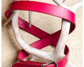 Simple red leather belt -...