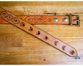 Tooled tan leather belt -...