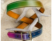 Rainbow leather belt with...