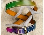 Rainbow leather belt with...