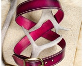 Raspberry red leather bel...