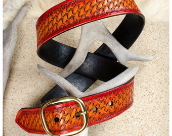 "Basketweave cherry sunburst leather belt - 38"" (fits 36""-40"")"