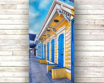 New Orleans Art - BLUE AND GOLD - Doors - Architecture - Photography -Doors-Shutters- Historic Building- Birch Boxes- Wood