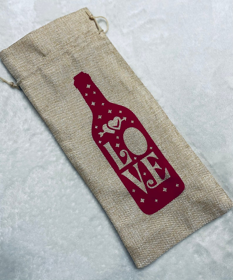 Wine Totes Burlap Wine Bag Valentine/'s Day Wine Gift Bags Reusable Wine Bag