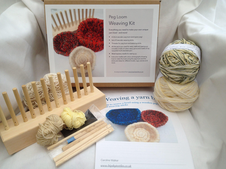 LAST ONE Weaving kit: make a yarn bowl using a wooden peg | Etsy