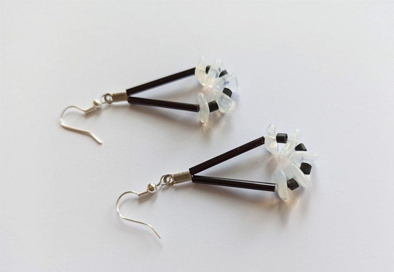 Black white dying earrings R\u00e9f.bo-073-