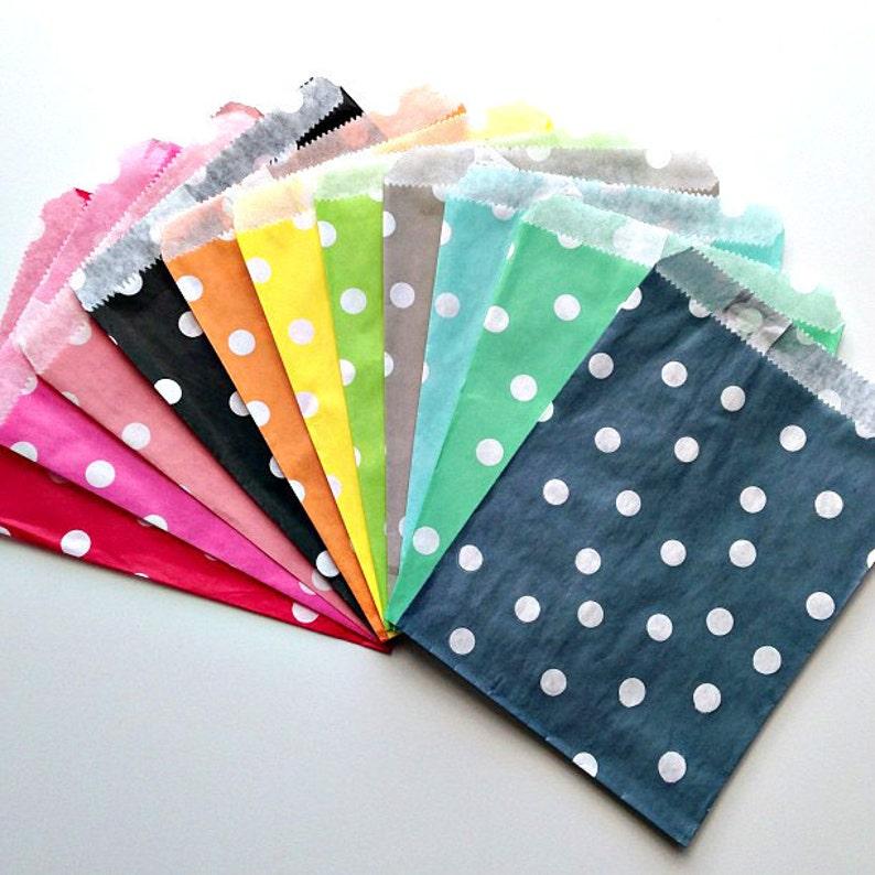 Polka Dot Assorted Mixed Paper Treat Bag Party Favor Bag 5 x 7 Snack Bag Goody Bag Gift Packaging Bag