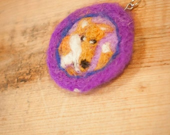 Needle Felted Fox Purple Necklace