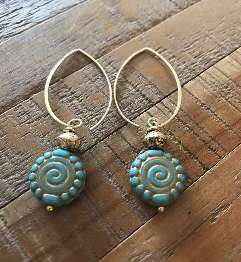 24 K Vermeil Gold 60 mm long from the ear hand painted on long French wires ear posts Pretty Handmade glass earrings