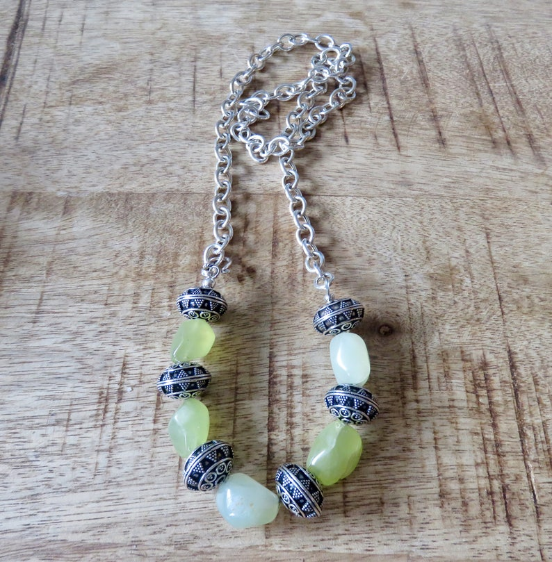 Sterling Silver chain necklace with chunky Prehnite nuggets and large filigree Sterling Silver beads side closing with hook clasp