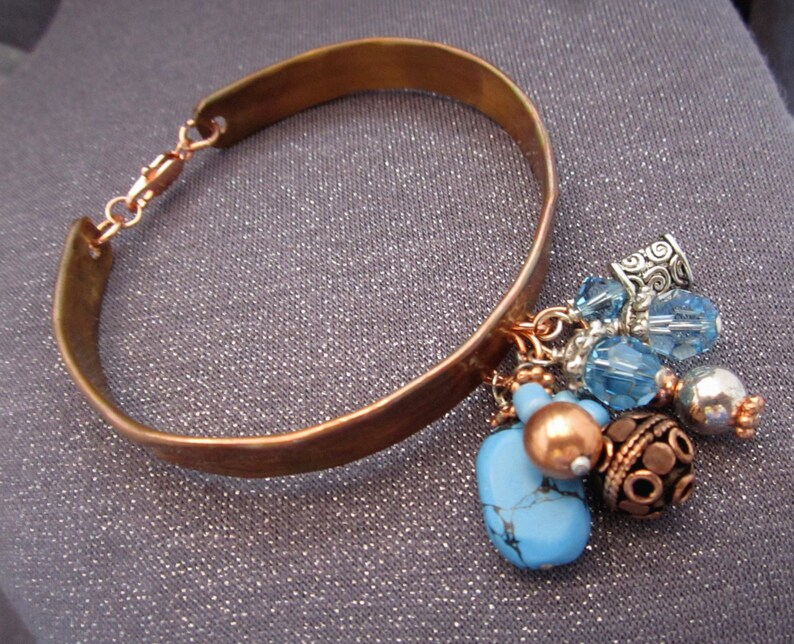 beaded bracelet gifts jewelry blue bracelet blue bead bracelet blue bangle bangle bracelet bracelet for women copper bracelet