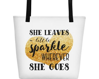 She Leaves A Little Sparkle Wherever She Goes Gold Glitter Heart Gold Bag Tote Bag Totebag Beach Bag Beach Tote