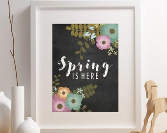Spring Is Here Easter Decor Chalkboard Poster Spring Decorations Easter Decorations Spring Decor Instant Download Digital Download Wall Art