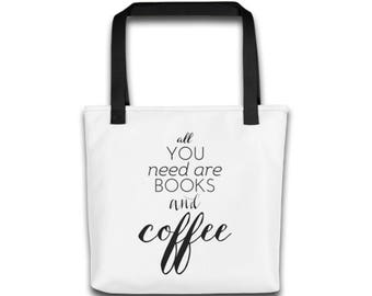 All You Need is Books and Coffee Black White Typography Totebag Book Tote Bag Book Totebag Typography Bag