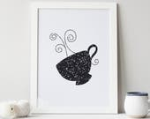 Coffee Mug Art Print Coffee Wall Art Tea Cup Decor Kitchen Gift