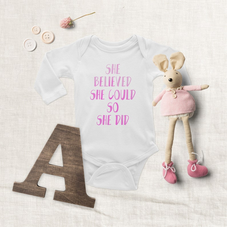 She Believed She Could So She Did Pink Bodysuit Baby Clothing Baby Shower Gift for Her