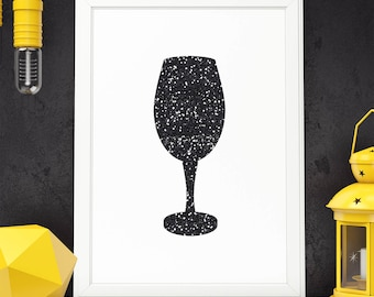 Wine Art Decor Wine Glass Printable Wine Glass Art Print Wine Art Print Black Glitter Kitchen Wall Art Kitchen Wall Decor Digital Download