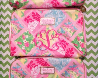 cef56c680b7e Monogrammed Lilly Pulitzer Patch 50th Anniversary Jubilee Makeup Bag  Monogram Personalized Cosmetic