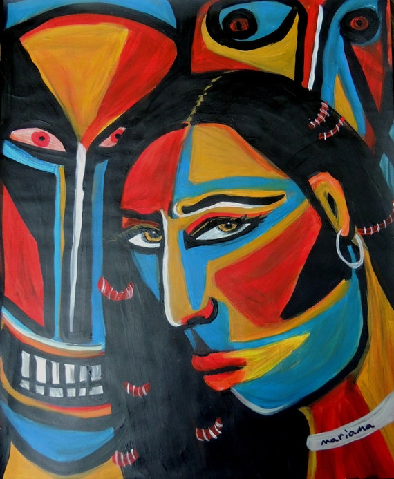 Outsider Art Abstract Painting Tribal Expression Raw Art Face Artwork Portrait by Mariama McCarthy