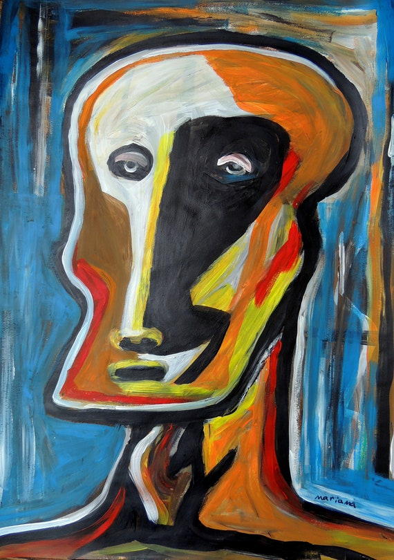 Outsider Art Abstract Portrait Painting Acrylic Signed Original Artwork