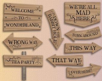 Alice in wonderland party printables alice in wonderland decorations Instant download alice in wonderland decor alice in wonderland party