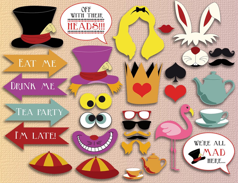 Alice In Wonderland Photobooth Printable Instant Download Etsy