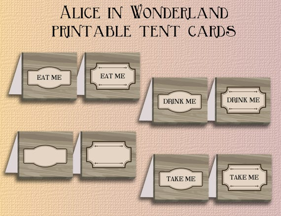 picture regarding Printable Tent Cards named Alice in just wonderland printable tent playing cards - Prompt down load Do-it-yourself tent card template - try to eat me acquire me consume me tentcard