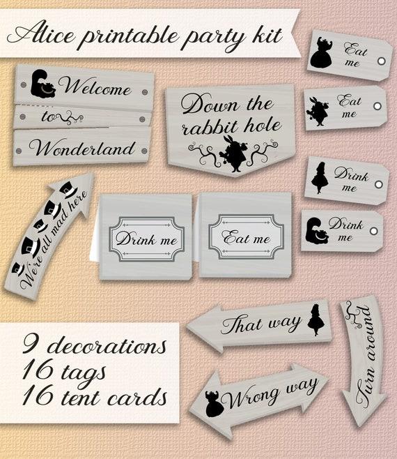 Alice in Wonderland 16 drink me labels party decoration
