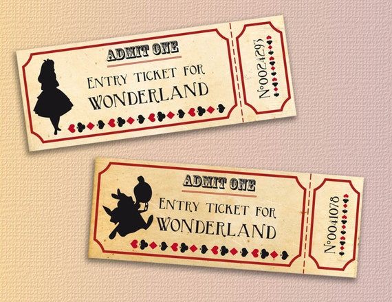 alice in wonderland tickets printable instant download alice etsy