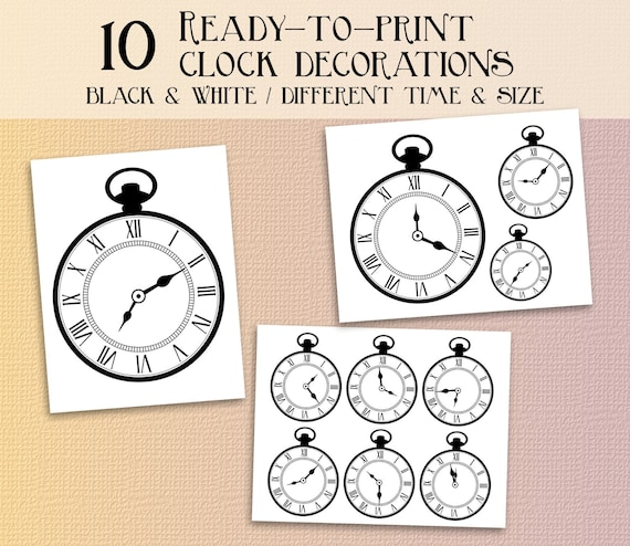 graphic regarding Printable Clocks named Alice inside of wonderland clock occasion printables alice in just wonderland decorations Prompt down load clocks wonderland decor alice within wonderland
