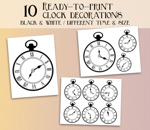 photo about Printable Clocks referred to as Alice within just wonderland clock bash printables alice within wonderland decorations Immediate obtain clocks wonderland decor alice in just wonderland