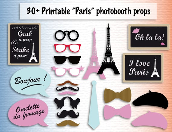 Printable Paris Photobooth Props Instant Download Photo Booth Etsy