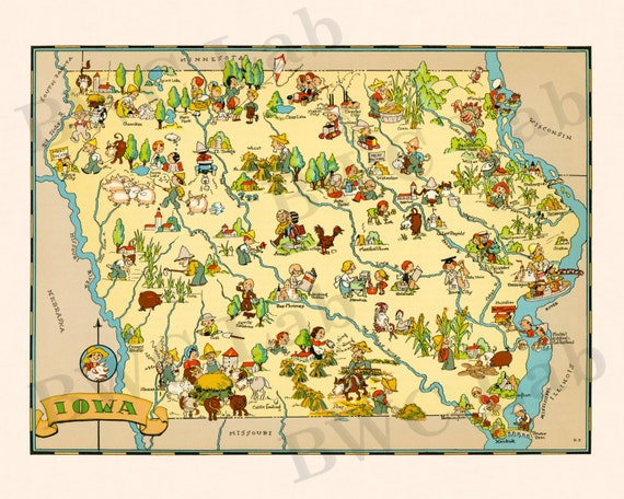 Pictorial Map of Iowa - colorful fun illustration of vintage state on vibrant maps, curious maps, mindful maps, home survey maps, men maps, hand drawn maps, honest maps, expensive maps, unusual maps, new york vintage city maps, collaborative maps, interactive maps, valuable maps, amusement park maps, strange maps, prank maps, self made maps, interesting maps, oregon opal sites to maps,