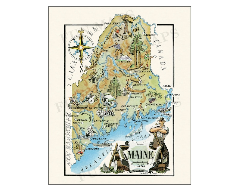 Pictorial Map of Maine - colorful fun illustration of vintage state on saco maine, waterville maine, york maine, calais maine, old orchard beach maine, lewiston maine, fort kent maine, google maps maine, moosehead lake maine, madawaska maine, cities in maine, chelsea maine, old town maine, blue hill maine, skowhegan maine, caribou maine, detailed map maine, lowell maine, ellsworth maine, airports in maine,