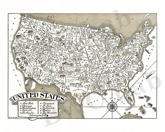 Pictorial Map of the United States with State lines - fun illustration of  vintage US map
