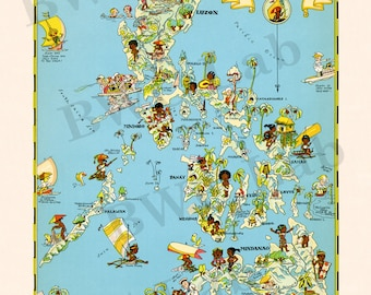 Pictorial Map of Philippine Islands - colorful fun illustration of vintage map (Color 1935)