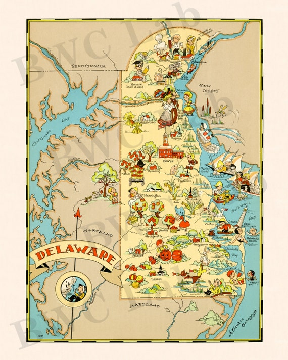 Pictorial Map of Delaware - colorful fun illustration of vintage state on