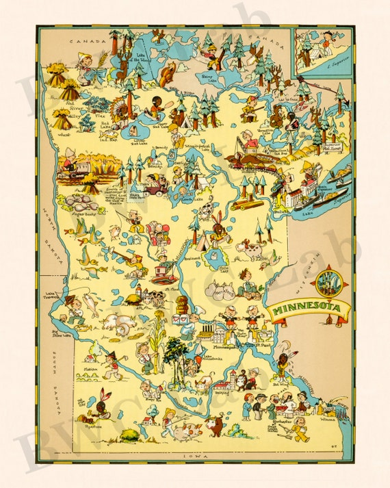 Pictorial Map of Minnesota - colorful fun illustration of vintage state map  (Color 1935)