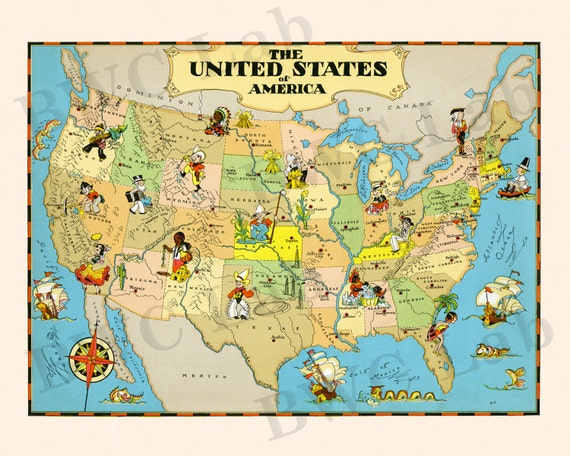 Map Of The United States Picture.Pictorial Map Of United States Colorful Fun Illustration Of Etsy