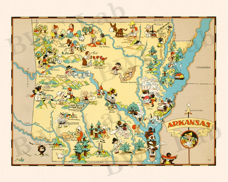 Pictorial Map of Arkansas - colorful fun illustration of vintage state on map of connecticut, harrison arkansas, map of idaho, texarkana arkansas, map of north carolina, rivers in arkansas, map of georgia, map of michigan, map of texas, osceola arkansas, map of new jersey, map of ohio, russellville arkansas, ash flat arkansas, map of alabama, map of colorado, google maps arkansas, piggott arkansas, murfreesboro arkansas, fairfield bay arkansas, jonesboro arkansas, map of africa, dewitt arkansas, ozark arkansas, fort smith arkansas, map of hawaii, map of new york, map of alaska, map of illinois, white river arkansas, england arkansas, map of florida, cities in arkansas, helena arkansas, map of arizona, map of virginia, map of delaware, waldron arkansas, west memphis arkansas,