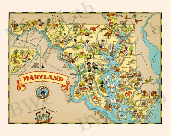 Pictorial Map of Maryland - colorful fun illustration of vintage state on graffiti of maryland, layout of maryland, landscape of maryland, graph of maryland, icons of maryland, clipart of maryland, food of maryland, drawing of maryland, cartoon of maryland,