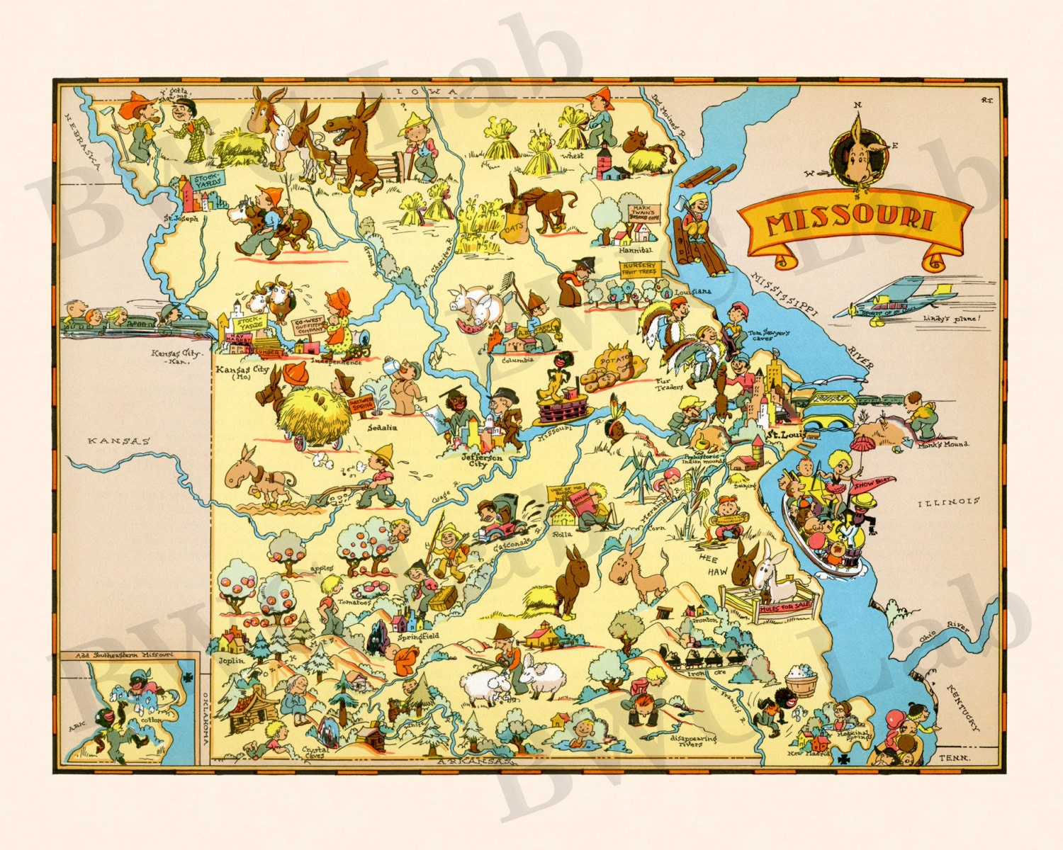 Pictorial Map of Missouri colorful fun illustration of | Etsy