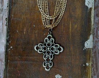 Vintage Multi- Chain with Oversized 1970's Cross Necklace  - religious jewelry estate vintage cross
