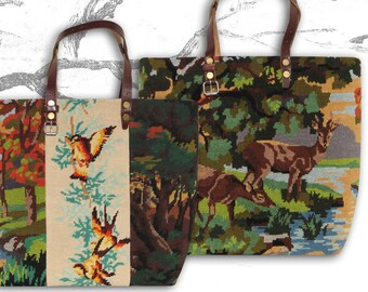 Tapestry Purse, Canvas Handbag Deer, French Design : Le Jeanne
